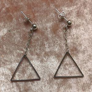 Silver Drop Dangle Chain Triangle Earrings